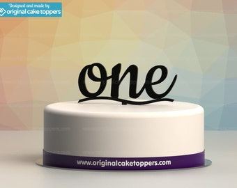 "Baby First Birthday Cake Topper - ""one"" - BLACK - OriginalCakeToppers"