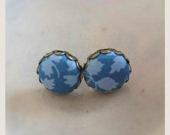 Stud Liberty Fabric button earrings -  Blue leaf