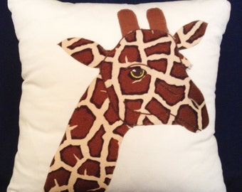 "Throw Pillow Cover, Giraffe Pillow Cover, 17x17"",Handmade Pillow, Giraffe, Pillow Cover, Giraffe Design, Designer Pillow, Gift MDPC127"