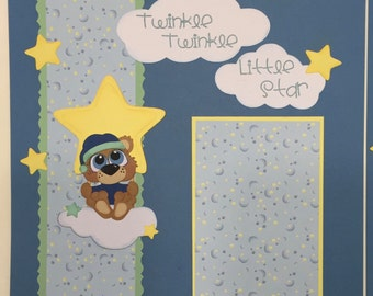 Baby Boy premade Scrapbook pages twinkle twinkle