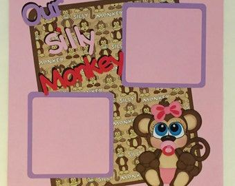 Baby Girl premade Scrapbook Page Silly Monkey