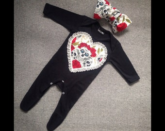 Skeletots baby girl skull & rose tattoo romper suit with headband baby goth 0-3m to 12m