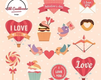 75% OFF SALE Valentine clipart commercial use, valentines day clipart, heart clipart, love clip art, valentine vector graphics  CL009