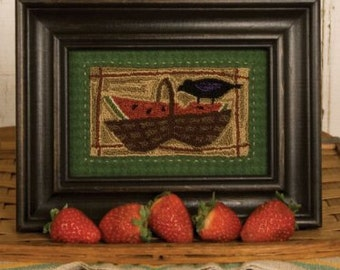 """PATTERN """" Picnic Lunch"""" Primitive Punch Needle Embroidery"""