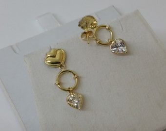 750 18ct. Gold heart Stud Earrings Crystal OR161