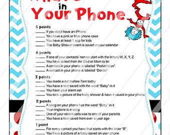 Dr Seuss Thing 1 Thing 2 Baby Shower What's In Your Phone Game