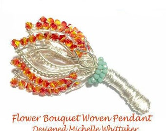Floral Bouquent Wire Weave Pendant (or Brooch) Tutorial PDF