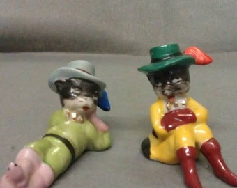 Vintage Cat Couple Relaxing  Cats Figurines