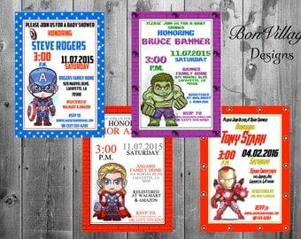 Marvel AvengersSuperhero  Baby Shower Invitations Digital Copy or Prints Captain America The Hulk Iron Man Thor
