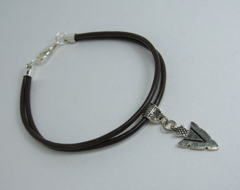Double-cord leather bracelet with silver arrowhead, leather bracelet, arrowhead bracelet