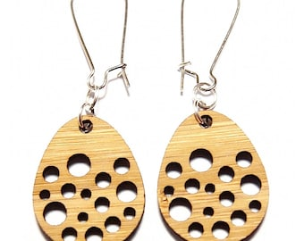 Spotty Egg Bamboo Dangle Earrings // Drop Earrings / Dangle Earrings / Bamboo Earrings / Wooden Earrings / Boho Dangles / Boho Chic Earrings