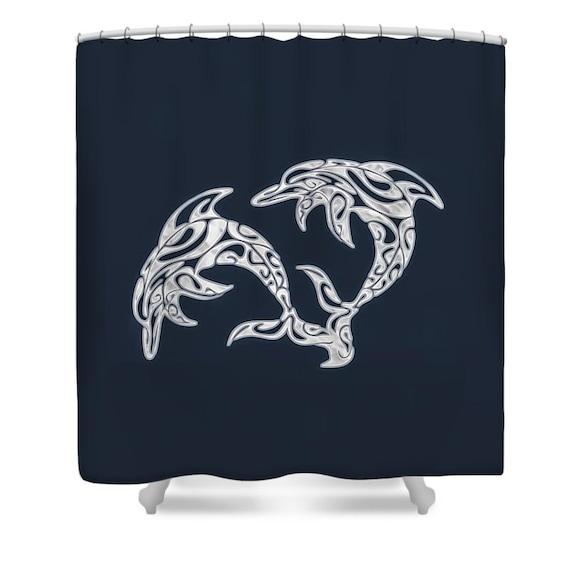 Items Similar To Cream Blue Dolphin Designer Shower Curtain Dolphin Bath Curt