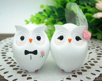 Custom Owl Wedding Cake Toppers-Unique Bride And Groom Owl Wedding Cake Toppers  With Pink Flowers