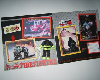 Firefighter Scrapbook pages - 12 by 12 Fireman Scrapbook Pages - Premade Firefighter Scrapbook Layouts - Fireman Scrapbook Layouts