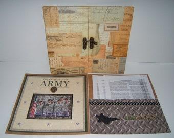Army Scrapbook Album - Premade Army Scrapbook Album - 12 by 12 Army Scrapbook Album - Army Gift Idea - Military Scrapbook Album - Army Gift