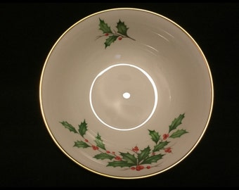 Free Shipping-Vintage-Lenox-Made USA-Holiday-Hand Decorated-24k Gold Trim-Holly Berry-Large-Serving Bowl
