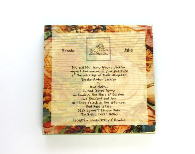 Wedding Invitation and Flowers 5 x 5 Inch Wood Photo Panel - Your Wedding Invitation and Flowers on Wood!