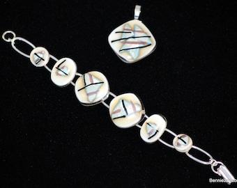 Silver leaf on reactive glass bracelet and pendant set