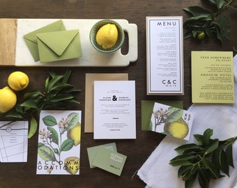 Lemon Invitation, Citrus Invitation, Botanical Invitation, Lemon Botanical Invitation, Lemon Save the Date, Citrus Save the Date - DEPOSIT