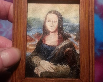 Mona Lisa Miniature 12th Scale Painting Oil on Canvas Dollshouse Reproduction