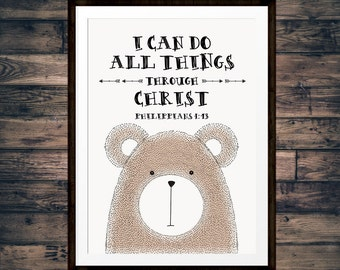 I can do all things through Christ – Philippians 4:13 - Woodland Nursery Decor, Bible Verse Wall Art, Childrens Wall Art - INSTANT DOWNLOAD