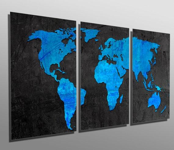 Metal Print Dodger Blue Amp Black World Map 3 Panel Split