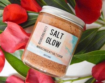 Salt Glow Moroccan Clay Salt Scrub- Exfoliating Salt Scrub- Mineral Rhassoul Clay Scrub- Rose Oil Body Scrub- Luxurious Body Scrub