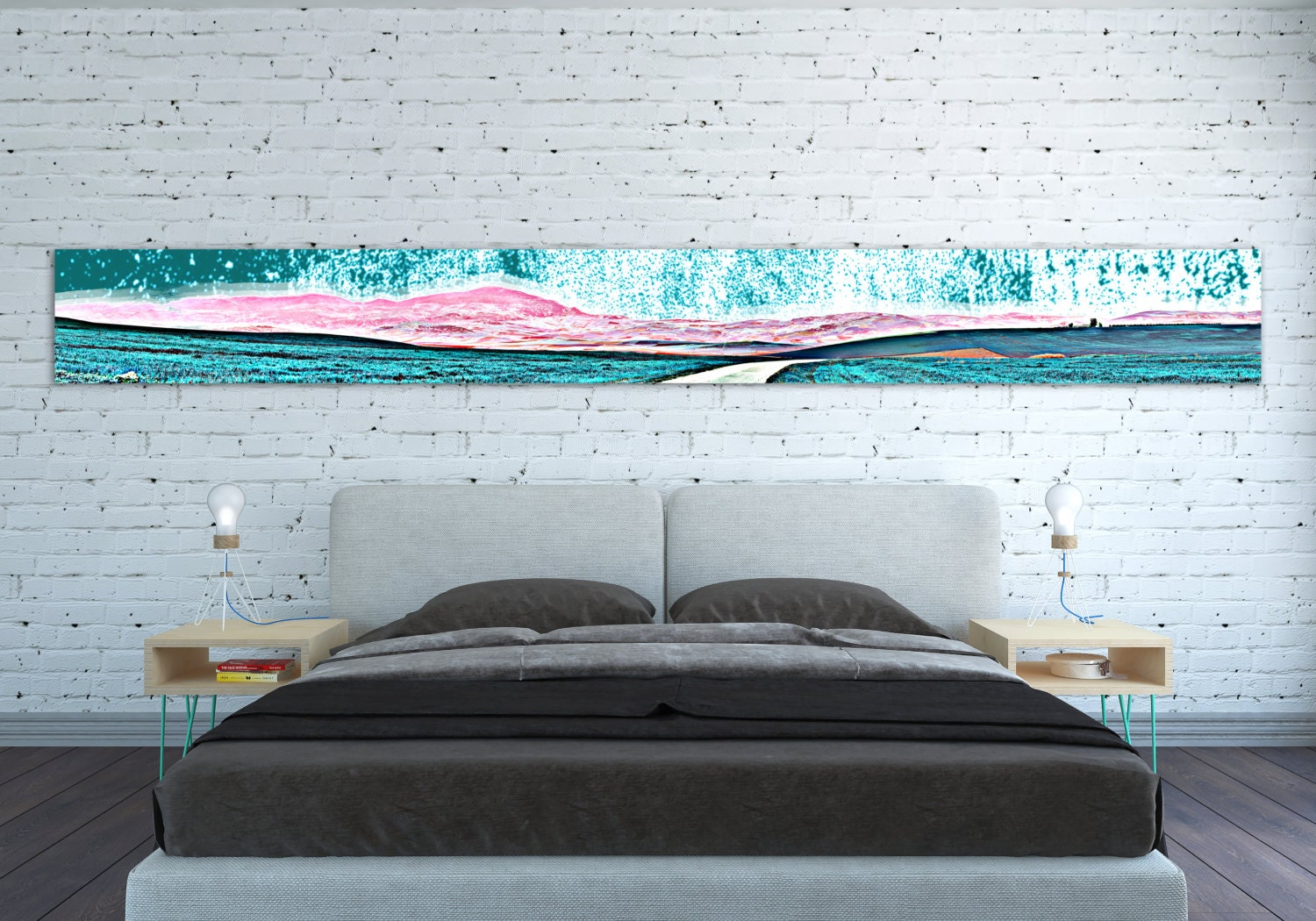 canvas print horizontal extra long narrow large abstract wall art landscape teal pink panoramic. Black Bedroom Furniture Sets. Home Design Ideas