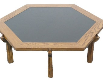 A BRANDT Ranch Oak Western Cowboy Hexagonal Coffee Table