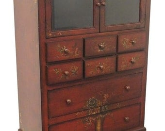 "Country French Style Red Floral Decorated 36"" Cabinet"