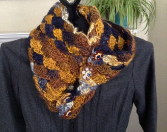 Multi Tone Blues and Golds Crochet Cowl with Polymer Clay Buttons