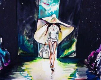Hat Game Original Watercolor and Ink Fashion Painting by Cris Clapp Logan
