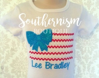 4th of July shirt, Girls 4th of July Shirt, memorial day shirt! Patriotic girls personalized shirt, flagshirt, red white and blue shirt!