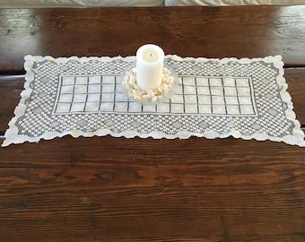 Vintage White Table Runner, Lace Table Runner, Crocheted Table Runner