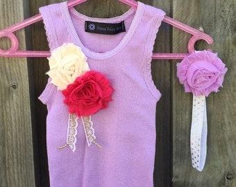 Baby Girl Singlet with shabby flower embellishment and matching headband - Size 000  Newborn