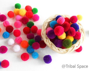 Mini Yarn pom pom, Mixed colors,Colorful,Garland party,Craft supplies 50 pom poms (PM_004)