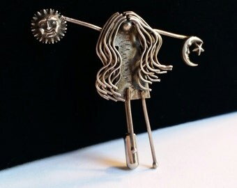 Vintage Sterling stickpin. Whimsical girl with Sun and Moon, Celestial