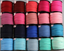 3mm Flat Faux Suede Leather Cord,DIY Leather String Cord Supplies,Faux Suede Lace,Vegan Suede Cord (60 colors)