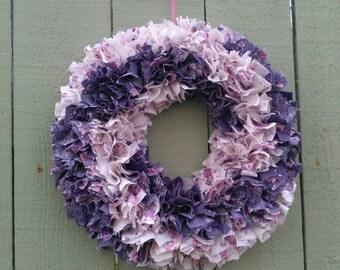 "Rag wreath 15"" pin wheel purple    and cream with pink flowers."