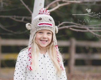 Sock Monkey Hat, Baby Shower Gift, New Baby Gift, First Birthday Hat, Photo Prop, Photo Booth Prop, Birthday Gift, 1st Birthday Outfit