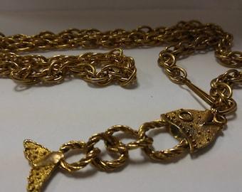 Boho Vintage Chain belt with Fish Dangle