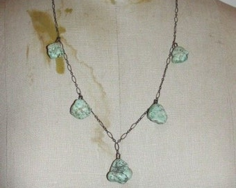 Art Deco Sterling Silver Nugget Turquoise Necklace