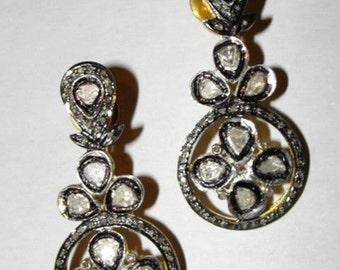 Victorian Rose Cut Diamond Chandelier Earrings