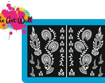 2x A5 Stencils for Henna and Glitter temporary tattoo body art