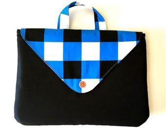 Check Mate Computer Laptop Case- 11, 13, 15, 17 inch. Handmade by Orange bicycle designs