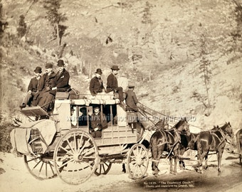 "1889 ""The DEADWOOD COACH"" - Black Hills South Dakota - Re-print Photograph - available in Sepia or B&W sizes 8x10 11x14 16x20 Photo Picture"