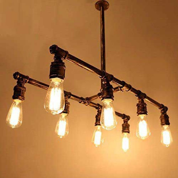 Industrial Pipe 8 Lamp Chandelier by Illuminology on Etsy