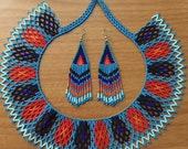 Karla's huichol beaded necklace with earrings
