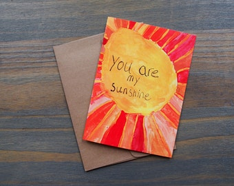 You Are My Sunshine, Pack of 10 Greeting Card Set w/ 10 Kraft Envelopes