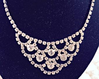 Vintage Rhinestones Choker, Rhinestone Bib Necklace, Vintage Rhinestone Bib Necklace